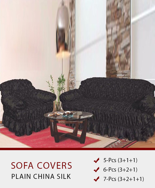 Black Sofa Covers – Plain Silk Fabric