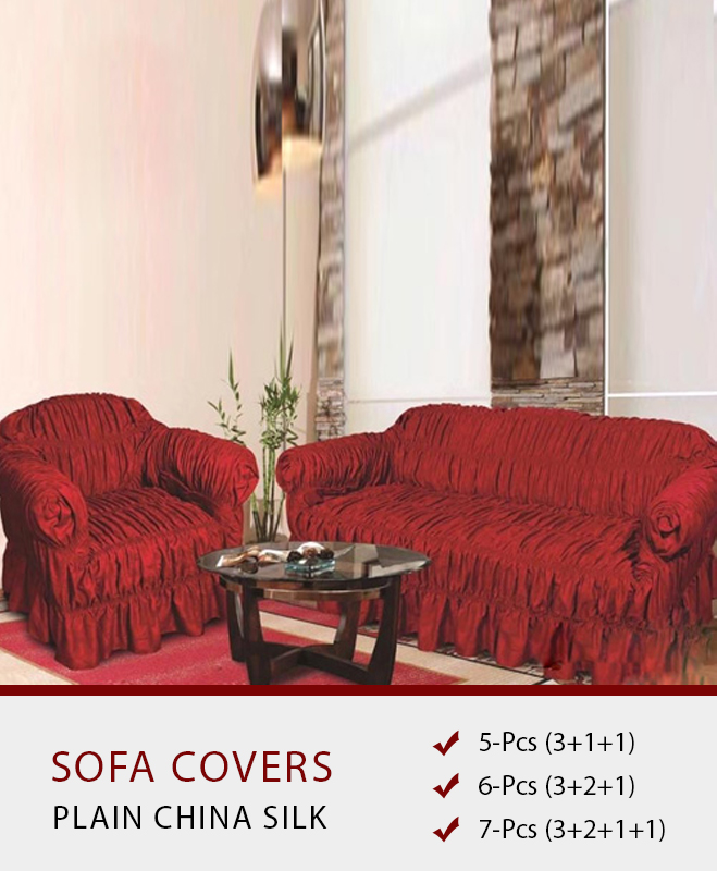 Wine Red Sofa Covers – Plain Silk Fabric