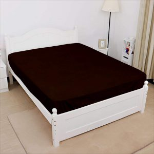 Jersey fitted sheet dark brown