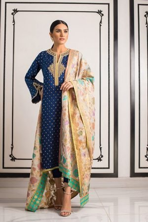 sania_maskatiya lawn suit embroided with chiffon dupatta