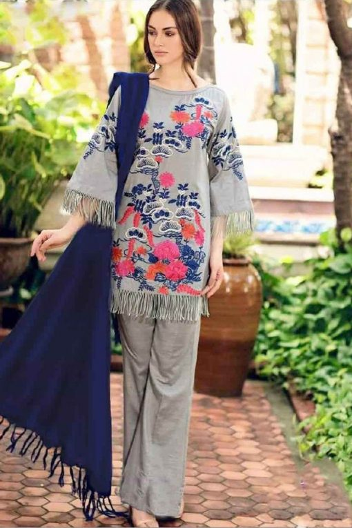 charizma embroidered fancy linen winter suit 2021